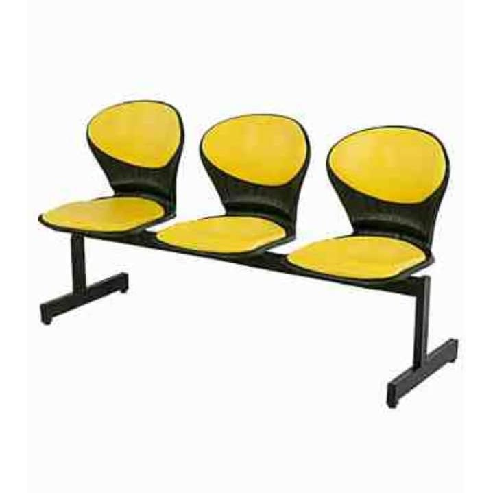 صندلی انتظار سه نفره تشکدار پایه فلزی کف فایبر
