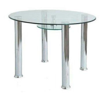 میز نهارخوری پایه استیل شیشه ای