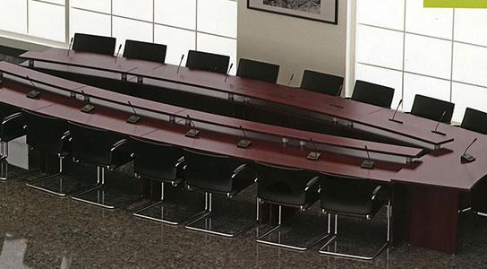 میز کنفرانسی یو شکل 18 نفره سکو پیشخوان